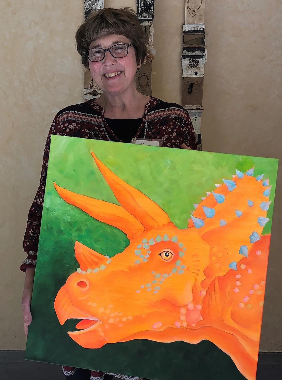 "Nancy with ""Grandma Triceratops"""